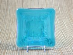 Blue (light) transparent glass small square centre plate