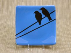 Blue glass medium square curved plate