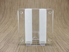 Cream/clear glass square coaster - 2 stripes