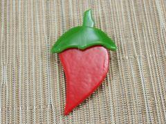 Red (dark) chilli handmade glass brooch