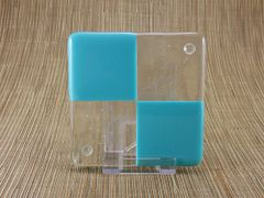 Blue (light) and clear glass coaster - 4 square