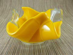 Sunflower yellow folded handmade glass bowl