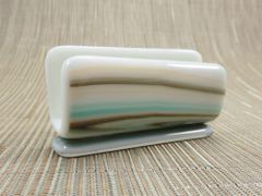 Cream patterned glass business card stand