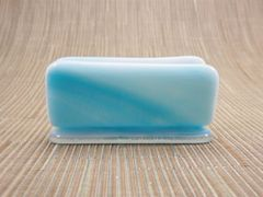Blue swirl glass business card stand
