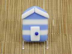 Beach hut glass fridge magnet - lavender/white stripes with white trim