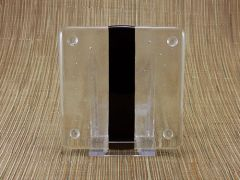 Black/clear glass coaster - 1 stripe