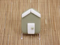 Beach hut glass fridge magnet - olive green with white trim