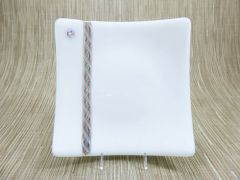 White glass medium square curved plate