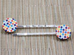 Rainbow dot wood bobby pins