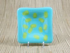 Blue (light) glass small square centred plate