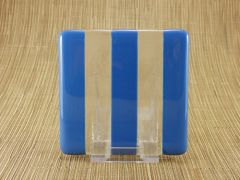 Blue/clear glass coaster - 3 stripe