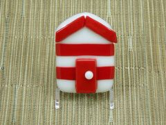 Beach hut glass fridge magnet - red/white stripes with red trim
