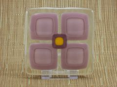Mauve flower handmade glass coasters (set 4)