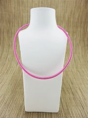Pink (dark) silk necklace cord with silver plate clasp