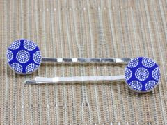 Blue tribal dot wood bobby pins