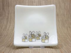 Christmas present cream glass curved plate
