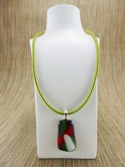 Purple glass pendant with red/green/white pattern