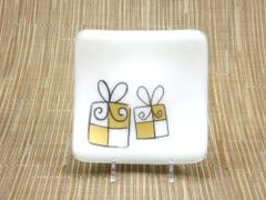 Christmas present white glass small curved plate