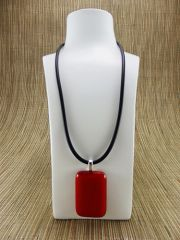 Red (dark) rectangular glass pendant