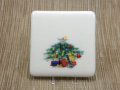 Christmas tree cream glass coaster