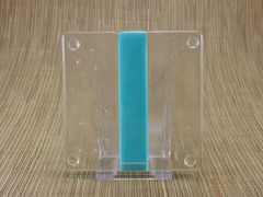 Blue (light) and clear glass coaster - 1 stripe