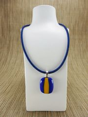 Blue glass pendant with yellow stripe