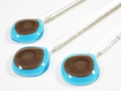 Blue/chocolate and clear glass swizzle sticks