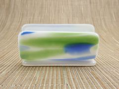 Blue/green/white patterned glass business card stand
