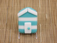 Beach hut glass fridge magnet - light blue/white stripes with white trim