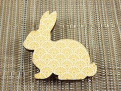 Rabbit - yellow patterned bunny wood brooch