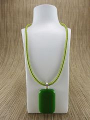 Green rectangular glass pendant