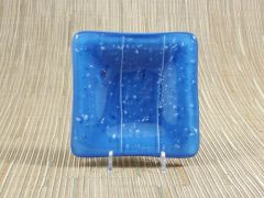 Blue glass small square centre plate with white flecks/lines