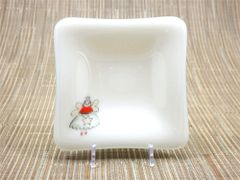 Fairy godmother cream glass small square centred plate