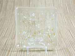 Clear patterned glass small square centre plate