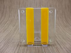 Yellow/clear glass coaster - 2 stripe