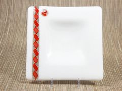 White glass medium square centred plate