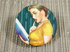 Retro pinup lady no. 3 wood brooch