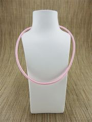 Pink (light) silk necklace cord with silver plate clasp