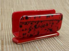 Red (dark)/black patterned glass business card stand