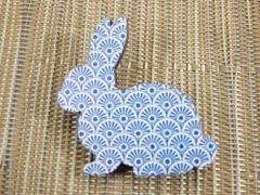 Rabbit - blue patterned bunny wood brooch
