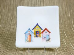 Beach hut (3 combo) white glass curved plate