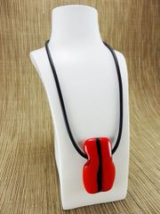 Red (dark) glass pendant with black stripe design