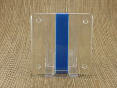 Blue/clear glass coaster - 1 stripe