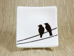 Cream glass medium square curved plate