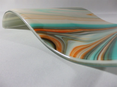 Turquoise/orange/ivory patterned rectangular glass wave