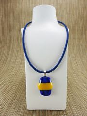 Blue and yellow glass pendant