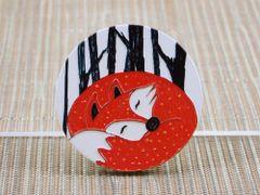 Sleepy forest fox wood brooch