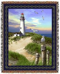 "Tapestry - ""Beach - Lighthouse"" - Afghan, 53x67"
