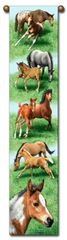 "Tapestry - ""Horses - Spring Frolic"" - Hanging Bell Pull, 8.5x40"