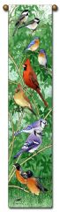 "Tapestry - ""Birds - Backyard Birds"" - Hanging Bell Pull, 8.5x40"